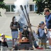 Firing the Bastion cannon at the Nanaimo Downtown Farmers Market.